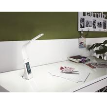 Lampe de bureau LED à intensité lumineuse variable 3,2W 300 lm 5000 K blanc lumière du jour H 510 mm aspect cuir Cognoli blanc-thumb-0