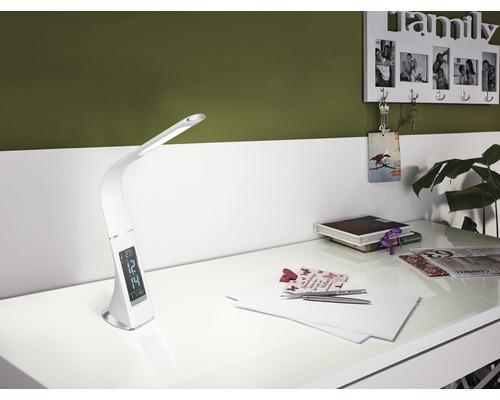 Lampe de bureau LED à intensité lumineuse variable 3,2W 300 lm 5000 K blanc lumière du jour H 510 mm aspect cuir Cognoli blanc-0