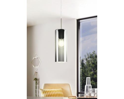 Suspension métal/verre 1 lumière hxLxl 1100x710x100 mm Selvino nickel-mat/noir