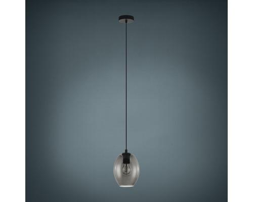 Suspension verre métal 1 lumière hxØ 1100x180 mm Cadaques noir/verre fumé/transparent