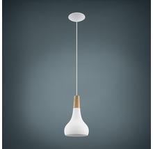 Suspension métal/bois 1 lumière hxØ 1100x180 mm Sabinar blanc/marron clair-thumb-0
