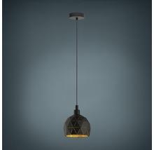 Suspension métal 1 lumière hxØ 1100x170 mm Roccaforte extérieur noir intérieur doré-thumb-0