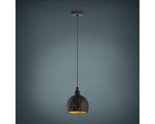 Suspension métal 1 lumière hxØ 1100x170 mm Roccaforte extérieur noir intérieur doré