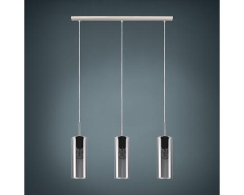 Suspension métal/verre 3 lumières hxLxl 1100x710x100 mm Selvino nickel-mat/noir