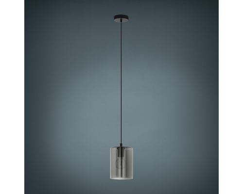 Suspension verre métal 1 lumière hxØ 1100x160 mm Cadaques noir/verre fumé/transparent
