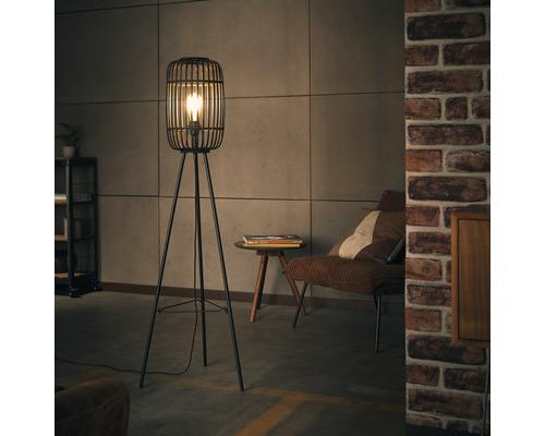 Lampadaire métal/bambou à 1 ampoule hxØ 1300x450 mm Woodrow noir/bois foncé avec interrupteur à pied