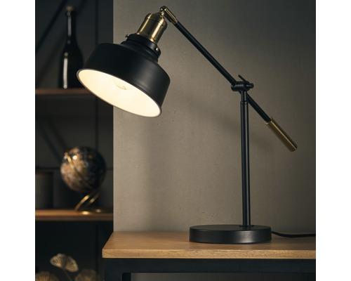 Lampe de bureau Sutherland 1 ampoule hxL 740/173 mm noir mat/laiton avec interrupteur intermédiaire à cordon