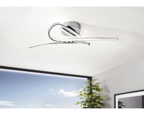 Plafonnier LED alu-plastique 10W 1800 lm 3000 K blanc chaud hxlxL 7150x420x700 mm Selvina blanc/chrome