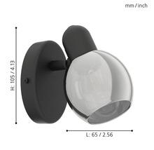 Spot patère acier/verre 1 ampoule hxL 105x65 mm Pollica noir/transparent-thumb-2