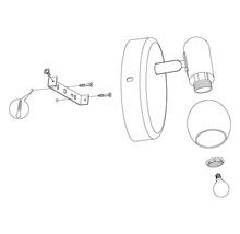 Spot patère acier/verre 1 ampoule hxL 105x65 mm Pollica noir/transparent-thumb-3