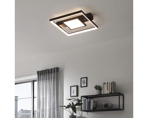 Plafonnier LED 38W 3400 lm 3000 K HxPxl 60x435x400 mm noir dimmable grâce à un interrupteur mural