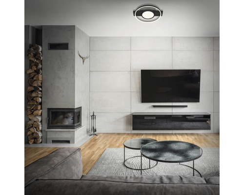 Plafonnier LED 33W 3100 lm 3000 K HxPxl 60x435x395 mm noir dimmable grâce à un interrupteur mural