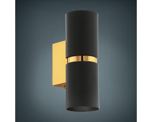 Applique murale LED acier 2x3,3W 2x240 lm 3000 K blanc chaud h 170 mm Passa noir/doré