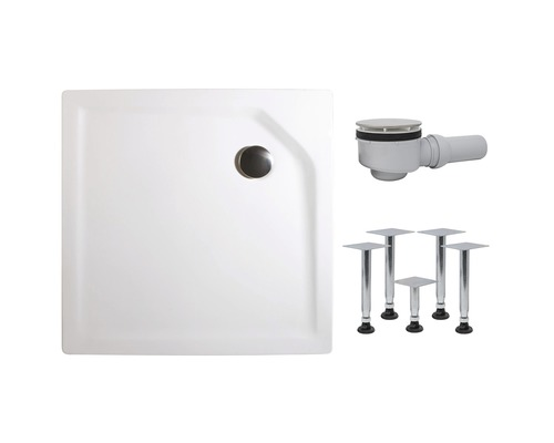 Extraflache Duschwanne Schulte 80x80x3,5 cm D20080 04 weiß inkl. Wannenfüße und Ablaufgarnitur