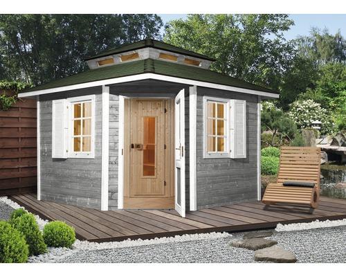 Chalet sauna Weka Kurikka avec poêle 7,5kW et commande numérique, avec portes en bois et verre isolant thermiquement