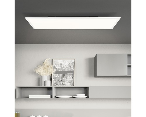 Panneau LED plastique 36W 4428 lm 2600K- 7000 K blanc chaud- blanc naturel hxlxp 55x800x400 mm Jacinda blanc/sable avec fonction de mémoire + télécommande + veilleuse