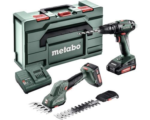 Kit d''outils sans fil METABO avec visseuse sans fil SB18 et cisaille à gazon/sculpte-haie SGS 18 LTX Q