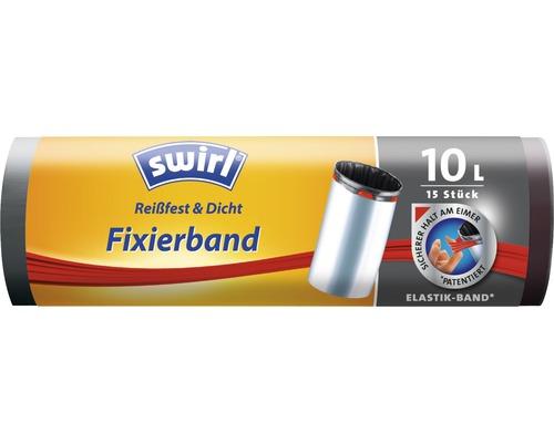 Sachet poubelle Swirl avec bande de fixation 10l 15pièces