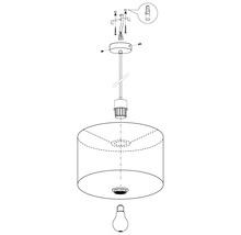 Suspension acier/textile 1 lumière hxØ 1100x380 mm Pasteri taupe/gris-thumb-5