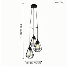 Lampe à suspension Tarbes à trois flammes cuivre Ø 310 mm-thumb-9