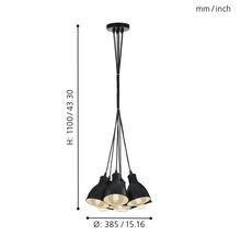 Suspension 7 ampoules Ø385mm Priddy noir/blanc-thumb-8