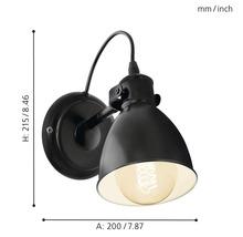 Applique murale Priddy noir/blanc 1 ampoule H 215 mm-thumb-7