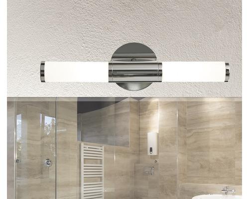 Applique murale 2 ampoules L 460 mm Palmera chrome/blanc