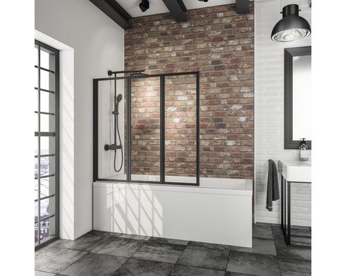 Pare-baignoire Schulte Komfort 3 parties 1268 mm couleur de profilé noir D1300-EKS 68 50