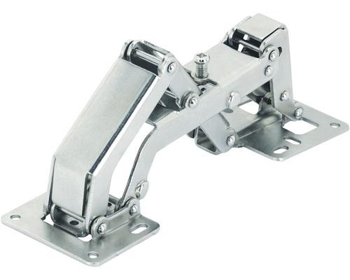 Charnière à angle large à visser avec ressort, acier nickelé, 1 pièce