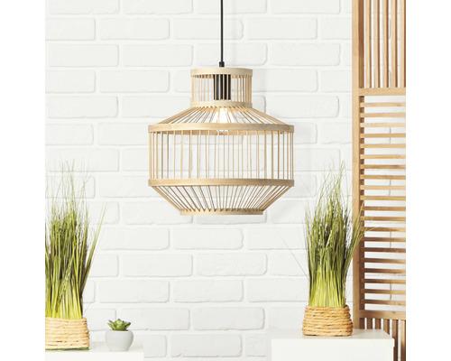 Suspension métal-bambou 1 ampoule hxØ 1200x350 mm Teva noir/naturel