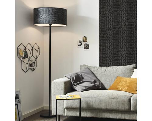 Lampadaire métal/textile à 1 ampoule hxØ 1645x500 mm Galance noir avec interrupteur à pied