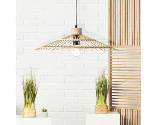 Suspension métal-bambou 1 ampoule hxØ 1200x410 mm Pirae noir/naturel