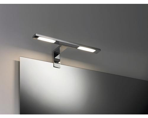 Éclairage de miroir LED applique d''armoire métal IP44 2x3,2W 2x280 lm 2700 K blanc chaud hxlxp 80x300x110 mm Galeria Double Hook chrome