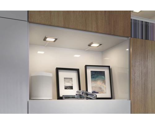 Éclairage de meuble LED spot plastique 2,5W 60 lm 2700 K - 6500 K blanc chaud - blanc naturel hxlxp 4x70x70 mm Clever Connect Pola chrome mat TunableWhite 12V