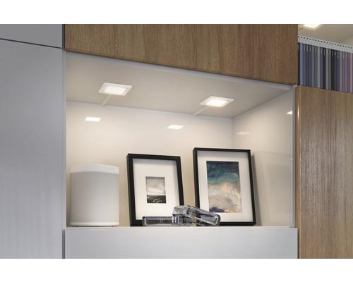 Éclairage de meuble LED spot plastique 2,5W 60 lm 2700 K - 6500 K blanc chaud - blanc naturel hxlxp 4x70x70 mm Clever Connect Pola blanc mat TunableWhite 12V