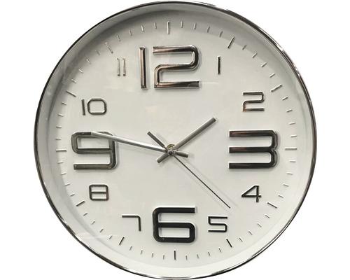 Horloge murale 3D argent-blanc de 30cm de Ø