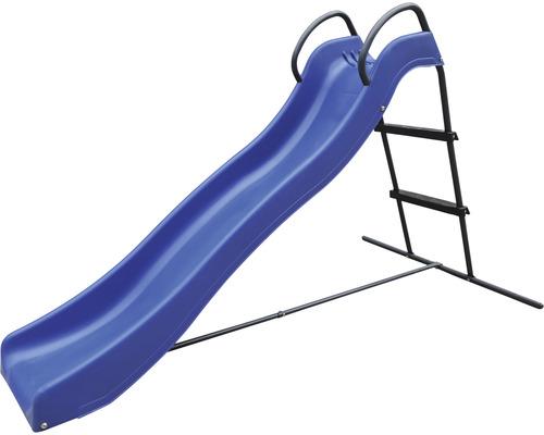 Toboggan à chevalet enfants avec raccordement d''eau plastique bleu