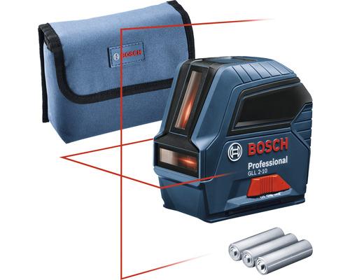 Laser à lignes Bosch Professional GLL 2-10 avec sac de protection et 3 x piles 1,5 V-LR6 (AA)
