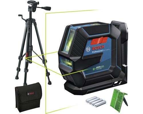 Laser à lignes Bosch Professional GLL 2-15 G avec trépied BT 150 Professional, support universel LB 10, cible laser, sac et 4 x piles 1,5 V-LR6 (AA)