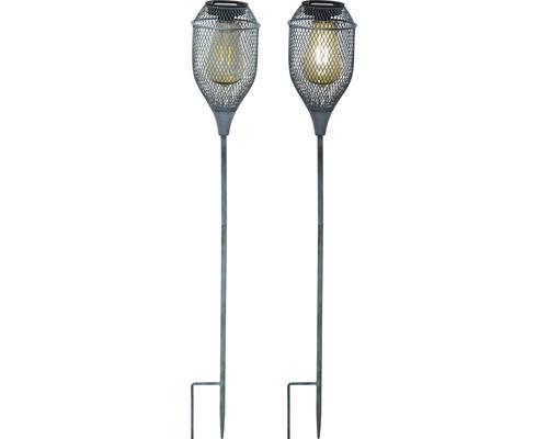 Lampe solaire à planter Lafiora métal H 76 cm blanc chaud seaweed