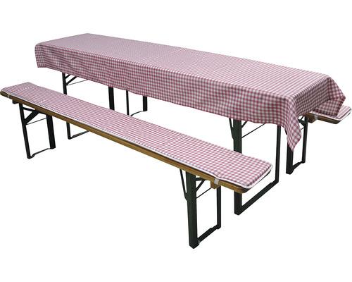 Set de revêtements pour table et bancs de brasserie 3 pièces rouge