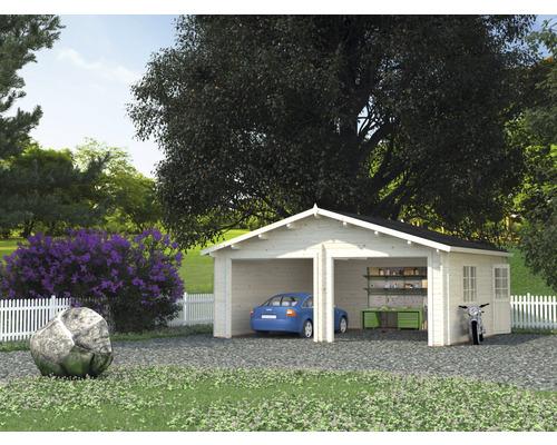Garage double Palmako Roger 28,4m² sans portail 575x510cm naturel
