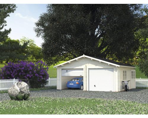 Garage double Palmako Roger 28,4m² avec portails sectionnels 575x510cm naturel