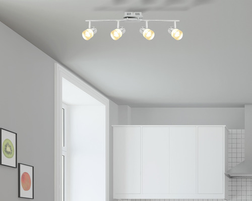 Spot LED mural/de plafond Flair 4x3.7 Watts chrome/transparent