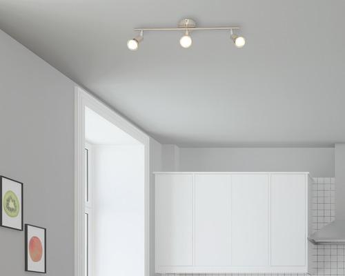Spot de plafond satin/nickelé avec 3 amoules 3x240 lm 3000 K blanc chaud L 480 mm