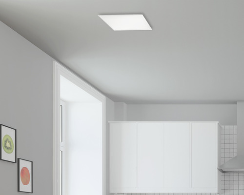 Panneau LED RJB CCT blanc à intensité lumineuse variable 16W 2000 lm 2765 K blanc chaud 300x300 mm avec télécommande Crosslink