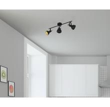 Spot de plafond FLAIR 3 ampoules Alrakis noir/mat/or L 550 mm-thumb-0