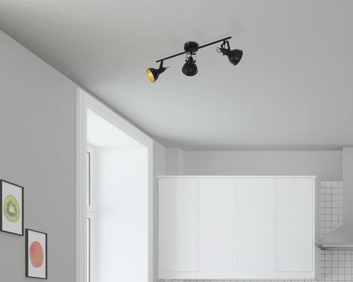 Spot de plafond FLAIR 3 ampoules Alrakis noir/mat/or L 550 mm-0