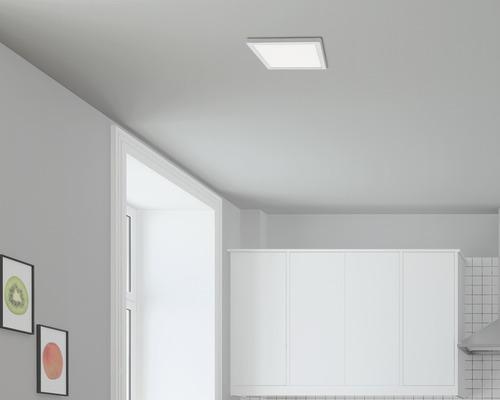 Plafonnier LED 21W 2000 lm 4000 K blanc neutre carré chrome mat 300x300 mm 230V