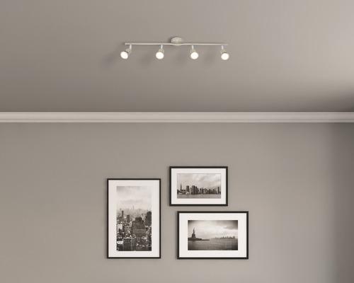 Spot de plafond 4x3W 4x240lm 3.000K blanc chaud satin/nickel L 675mm